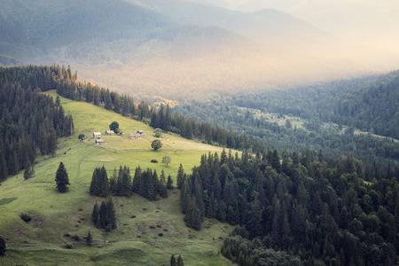 fense: Carpathian mountains rural landscape. Carpathian mountains, Ukraine Stock Photo
