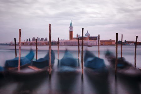 Oil painting style picture of gondolas in Venice, Italy photo