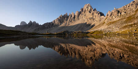dei: Lago dei Piani at sunny morning, Tre Cime, Italian Dolomites Stock Photo