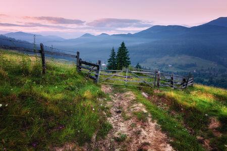 Mountains rural morning landscape Carpathian mountains, Ukraine