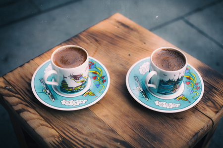 Retro style image of traditional turkish coffee photo