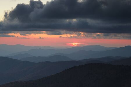 Smoky Mountains ridge at cloudy sunset. Great Smoky Mountains National Park, USA photo