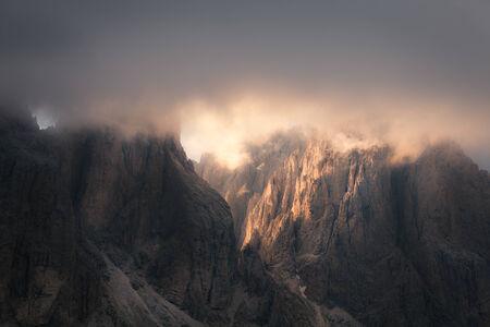 fassa: Dolomites mountain rocky peaks at sunset, Italian Dolomites