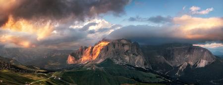 sella: Panoramic view of Sella group mountain, Val di Fassa, Italian Dolomites