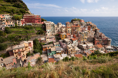 cinque: Manarola town at sunny day, Cinque Terre, Italy