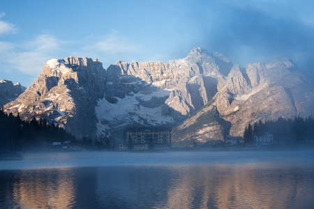 lake misurina: Early morning on the Lake Misurina, Tre Cime Di Lavaredo, Dolomites Alps, Europe.