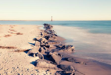 morris: Morris Island Lighthouse at sunny morning, South Carolina, USA Archivio Fotografico