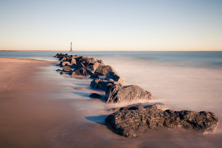 morris: Morris Island Lighthouse at mattina di sole, Carolina del Sud, Stati Uniti d'America Archivio Fotografico