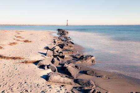 morris: Morris Island Lighthouse at sunny morning, South Carolina, USA Stock Photo