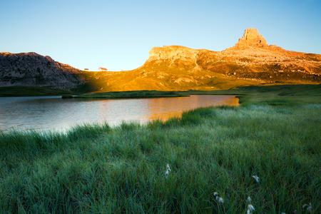 dei: Lago dei Piani at sunny morning, Tre Cime, Italian Dolomites Stock Photo