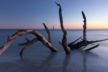 morris: Morris Island Lighthouse at sunrise, South Carolina, USA Stock Photo