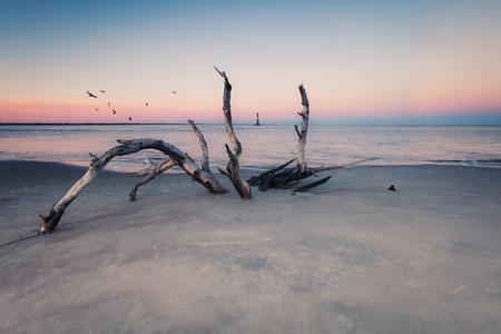 morris: Morris Island Faro al tramonto, South Carolina, Stati Uniti d'America