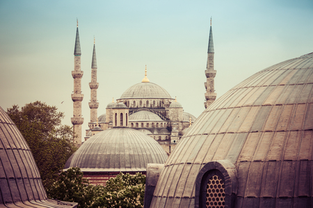 minarets: Sultanahmet Blue Mosque domes and minarets, Istanbul, Turkey Stock Photo