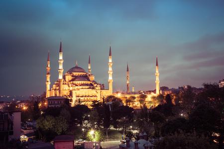 Sultanahmet Blue Mosque night view, Istanbul, Turkey Stock Photo