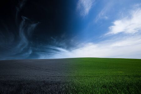 the night sky: green grass and blue sky night and day background
