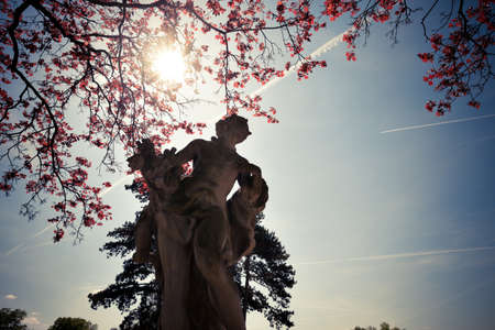 austerlitz: Statue in the park at sunny autumn day