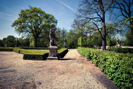 austerlitz: Park alley at sunny day Stock Photo