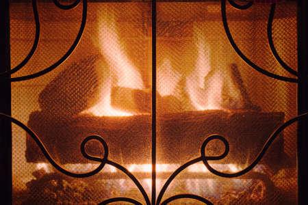 fireplace: Burning fireplace