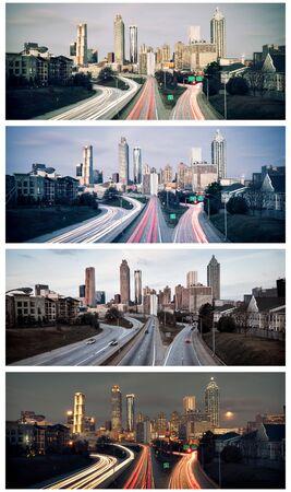 atlanta: Set of Atlanta skylines, Georgia, USA Stock Photo