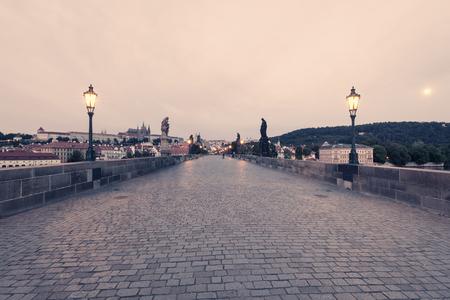 Charles Bridge at early morning, Prague, Czech Republic Stock Photo