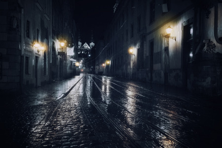Rainy night in old European city