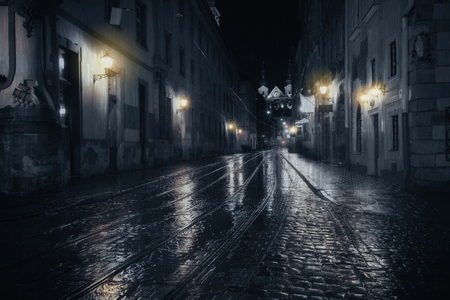 Rainy night in old European city Stok Fotoğraf - 52074772
