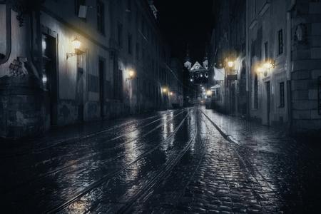 street view: Rainy night in old European city