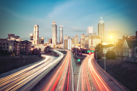 Atlanta skyline bij zonnige ochtend, Georgia, Verenigde Staten