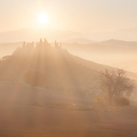 orcia: Sunrise at countryside landscape. Belvedere, Tuscany, Italy, Europe. Stock Photo