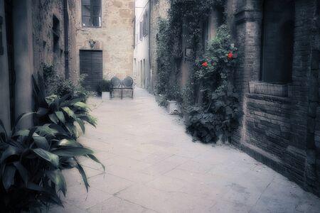 pienza: Vintage European town street. Pienza, Tuscany, Italy. Stock Photo