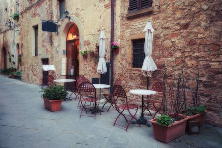 pienza: Old European town street. Pienza, Tuscany, Italy.