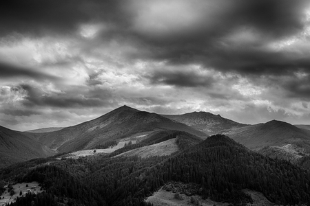 panoramic sky: Black and white photo of Carpathian mountains, Ukraine