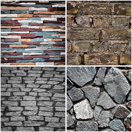 bstract: Set of bstract colorful stone wall texture background