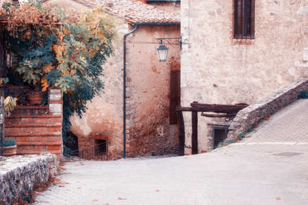 european: Old European medieval street Stock Photo
