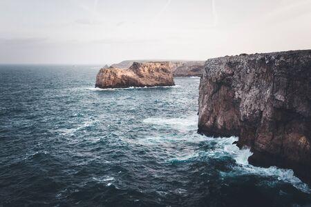 atlantic: Atlantic ocean cliffs. Sagres, Algarve, Portugal.