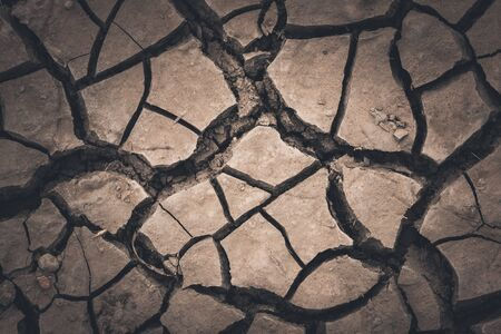 waterless: cracked soil abstract background Stock Photo