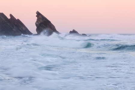atlantic: Atlantic ocean rocky coastline. Adraga beach, Portugal Stock Photo