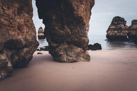 rocky coastline: Rocky coastline of Atlantic ocean, Algarve, Portugal