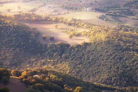 orcia: Sunny countryside valley. Tuscany, Italy, Europe. Stock Photo