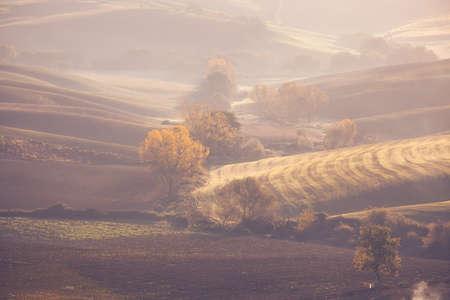 orcia: Countryside spring landscape at sunrise. Vintage style photo.
