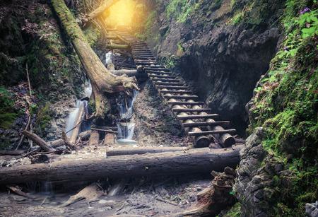 Path through rocky canyon