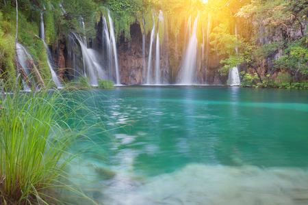 Beautiful summer waterfalls. Plitvice National Park, Croatia.