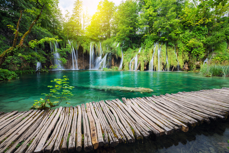 Beautiful waterfall in summer green forest Stock Photo