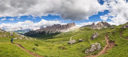 Summer alpine mountain hills panorama. Dolomites Alps, Italy