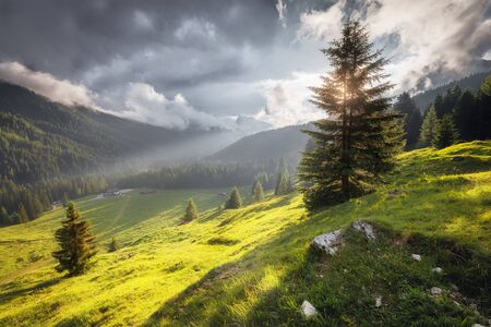 Summer mountain cloudy and sunny landscape. Dolomites Alps, Italy Stock Photo