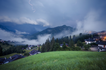 Stormy and rainy alpine mountains hills, Italian Dolomites