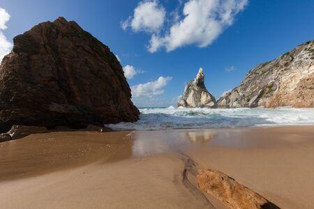 Beautiful beach Praia da Ursa at sunny day, Portugal