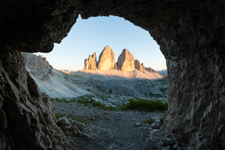 Tre Cime view from the cave, Italian Dolomites Alps