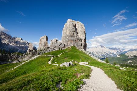 torri: Summer alpine mountain rocky hills panorama. Cinque Torri, Dolomites Alps, Italy Stock Photo