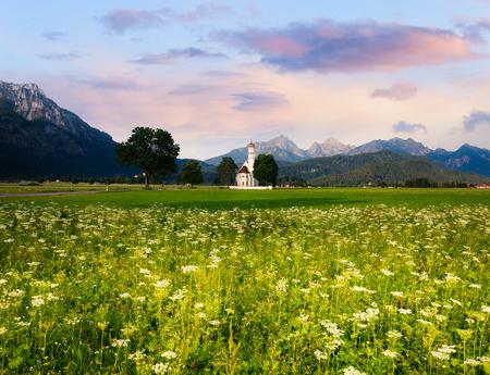neuschwanstein: Panoramic view of St. Coloman church, Schwangau, Bavaria, Germany